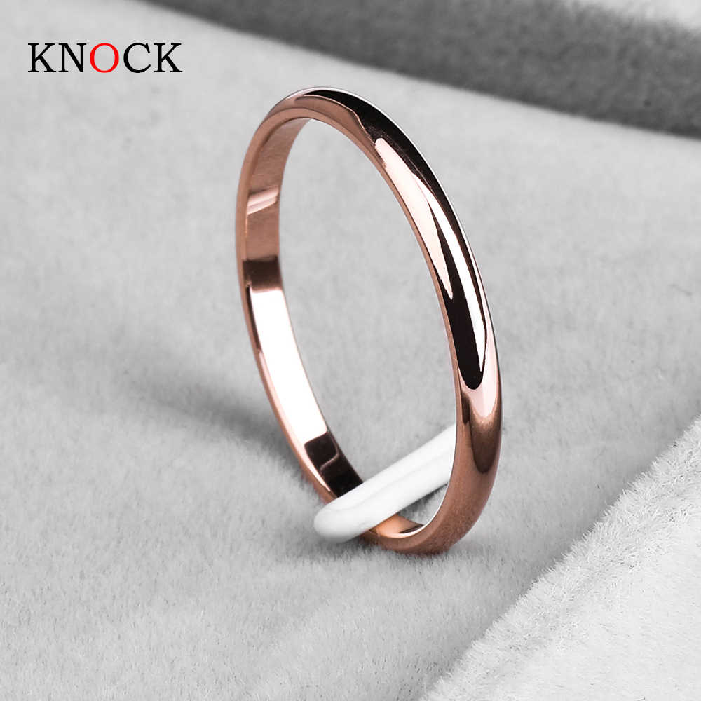 KNOCK Titanium Steel  Rose Gold  Anti-allergy Smooth  Simple Wedding Couples Rings Bijouterie for Man or Woman Gift