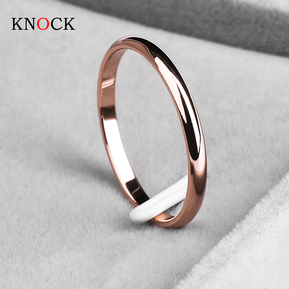 KNOCK Titanium Steel Rose Gold Anti-allergy Smooth Simple Wedding Couples <font><b>Rings</b></font> Bijouterie for Man or Woman Gift