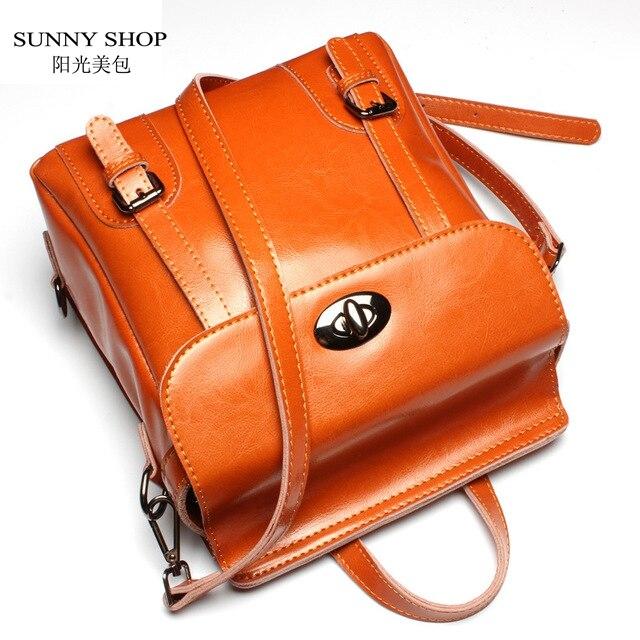 SUNNY SHOP Vintage Genuine Leather Backpack Fashion England Style School Backpack Brand Designer Real Skin Women Bag Cowhide