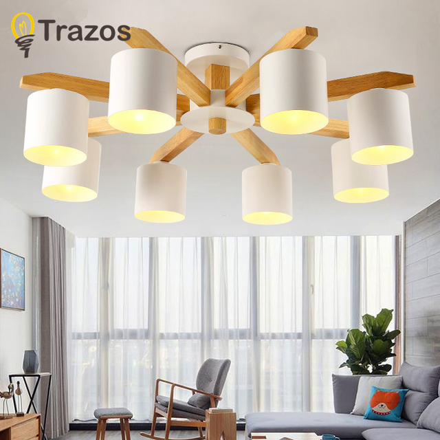 Modern LED Chandelier E27 With Iron Lampshade Nordic Chandelier For Living Room Suspendsion Lighting Fixture Wooden lighting LED