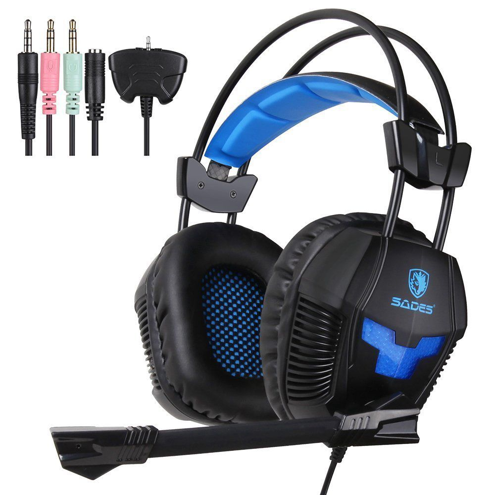 Sades SA-921 Stereo Gaming Headphones for a Mobile Phone PS4/Xbox 360/MAC/PSP/Laptop PC Gamer Headset Gaming Headphone with Mi