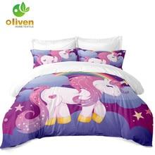 ФОТО ladies princess bedding set sweet unicorn duvet cover polyester colorful patchwork bedding cover pillow case ropa de cama d45