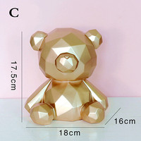 Geometric Cartoon Bear Piggy Bank Nordic Home Creative Ornaments To Send Girlfriends Children Men And Women Birthday Gifts M1343