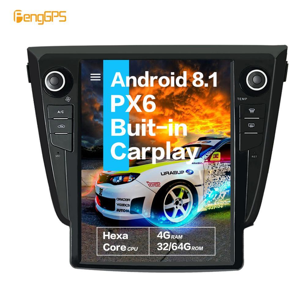 12.1 ''écran vertical Tesla Android 8.1 4 + 64GB commande vocale intégré autoradio pour NISSAN X-TRAIL Qashqai Rogue GPS Nav