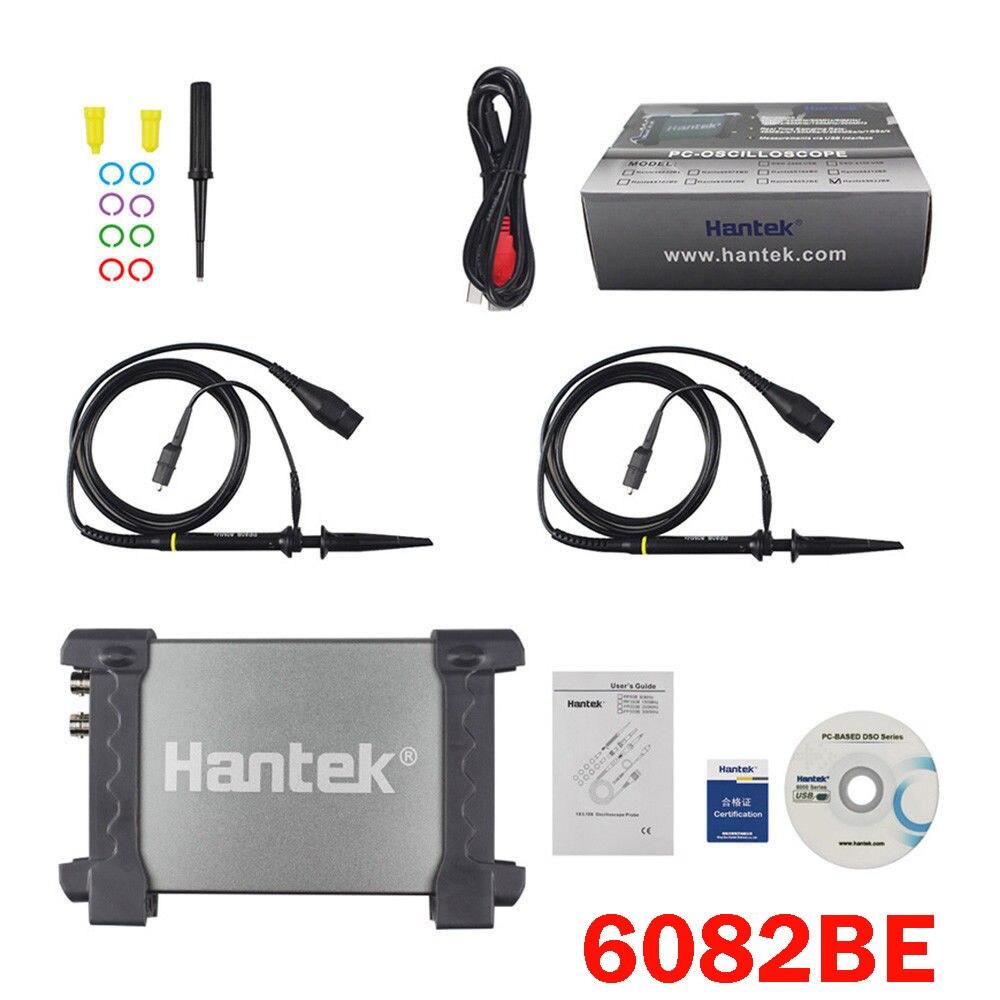Hantek 6082BE Multimetro Digitale Oscilloscopio USB 2 Canali 80 mhz Palmare Portatile basato su PC Logic Analyzer Tester di Stoccaggio