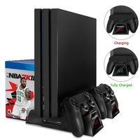Dual Controller Charger Console Vertical Cooling Stand Charging Station Dock For Ps4/Ps4 Slim/Ps4 Pro