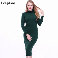LeapLoo Cashmere Dress Women Autumn Solid Round Neck Clothing Long Sleeve Sexy Wool Dresses Female High