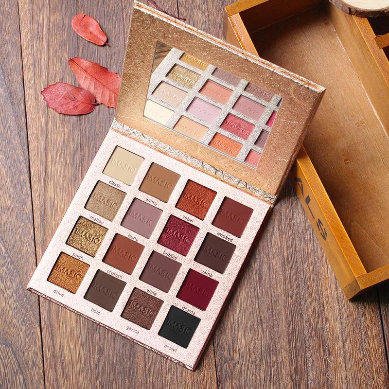 IMAGIC Make-Up Charmante Lidschatten 16 Farbe Palette Make up Palette Matte Schimmer Pigmentierte Lidschatten Pulver