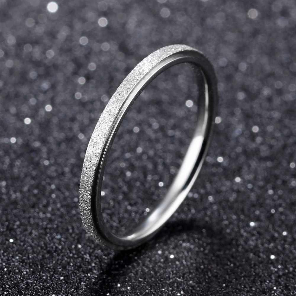 แฟชั่น Simple Scrub สแตนเลสแหวนผู้หญิงความกว้าง 2 มม.Rose Gold สี Finger ของขวัญเครื่องประดับสำหรับสาว