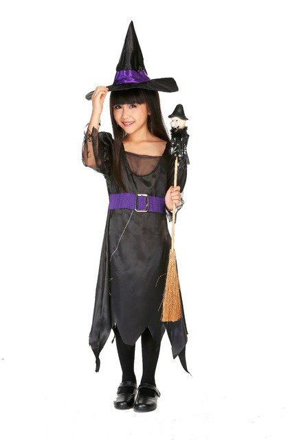 Kid Witch Costumes Black/Purple Satin Girls Cartoon Fancy Dresses Fairy Tales Halooween Costume Outfit  sc 1 st  AliExpress.com & Kid Witch Costumes Black/Purple Satin Girls Cartoon Fancy Dresses ...