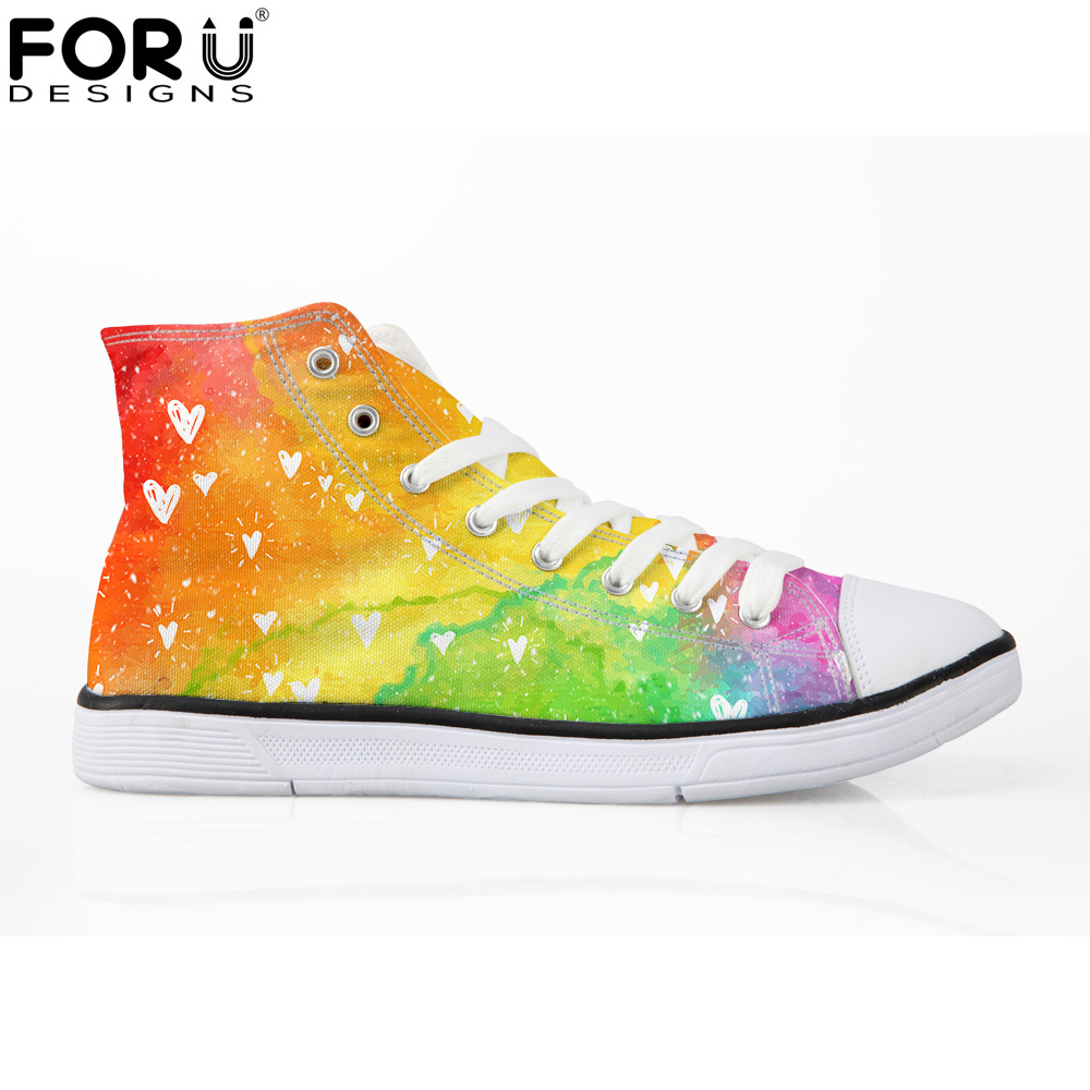 FORUDESIGNS 2018 Fashion Rainbow Canvas Shoes for Women High Top Lace-up Vulcanize Shoes Woman Spring Casual Shoes Sneakers Girl 2018 spring canvas shoes flat casual shoes black lace up shoes lovely cat printed women high top canvas female vulcanize shoes