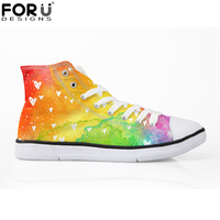 FORUDESIGNS 2018 Fashion Rainbow Canvas Shoes for Women High Top Lace up Vulcanize Shoes Woman Spring Casual Shoes Sneakers Girl