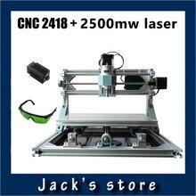 Cnc 2418 + 2500 mw láser, máquina de grabado del cnc, Pcb Milling Machine, máquina de Talla De Madera, bricolaje mini cnc router, cnc2418, GRBL control
