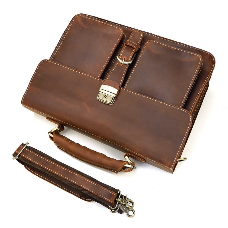 """HTB1BP9HQCzqK1RjSZFHq6z3CpXac Vintage Men's Genuine Leather briefcase 16"""" Cowhide Business bag Cow leather Laptop Double Layer messenger bag PC work tote"""