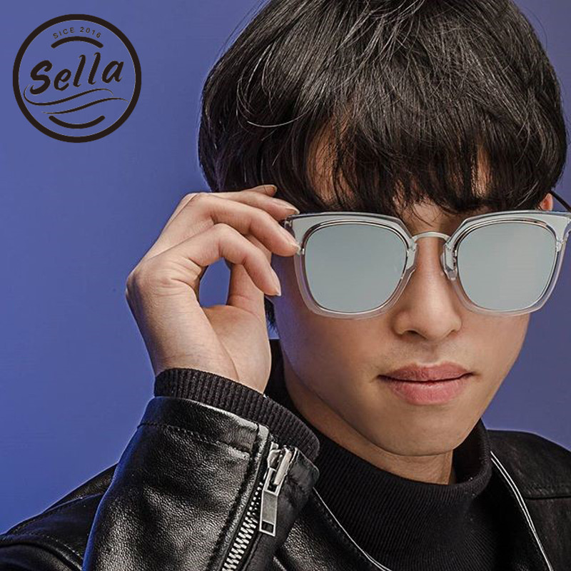 9b3434c53e836 Sella Moda Estilo Coreano Mulheres de Grandes Dimensões Homens Quadrado  Espelho Lentes Óculos de Sol Populares Revestimento de Película  Transparente Quadro ...