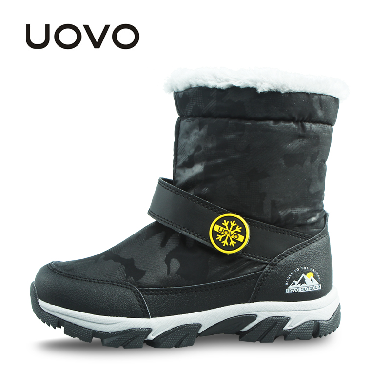 UOVO 2018 New Warm Kids Winter Boots Mid-Calf Kids Snow Boots for Boys Winter Children Shoes Boys Shoes Footwear Size 28#-37# uovo 2017 new kids shoes fashion children rubber boots for girls boys high quality warm winter children snow boots size 33 38