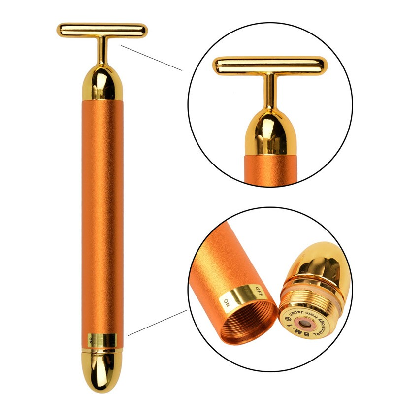 New Arrival Beauty Slimming Face 24k Gold Vibration Facial Beauty Roller Massager Stick Lift Skin Tightening Wrinkle Bar Face To