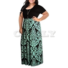 large Dress Fashion Womens  Print Summer Short Sleeve Plus Size Casual Long Maxi dropship Jan