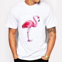 Senlinjeep 2017 Men T Shirt Fashion Flamingos Print Tees T-shirt Male Tops