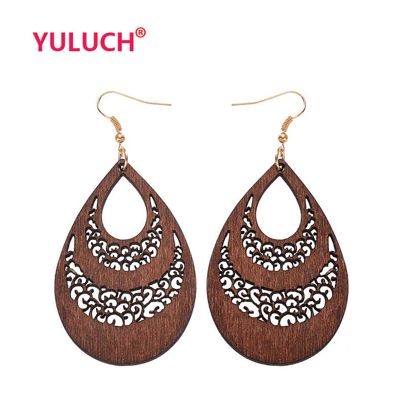 YULUCH Wooden Water Drops New Design for Hollow out Wood Earrings Fashion Woman Earrings Girls Pop Jewelry National Gifts