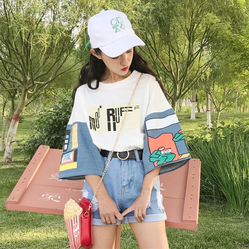 Korean Ulzzang Graphic Print Loose Female T Shirt Japanese ...