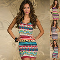 European and American women sexy nightclub Slim colorful print dress round neck sleeveless package hip nightdress