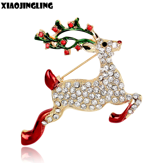XIAOJINGLING Fashion Crystal Rhinestones Christmas Brooch Pins Gold Luxury  Deer bts Accessories Trendy Animal Brooches For 7b344a512256