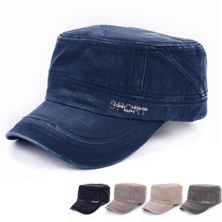aa53bad20ad Men s cap Flat Roof Military Hat Patrol Bush Hat Baseball Cap men women s  adjustable solid outdoor