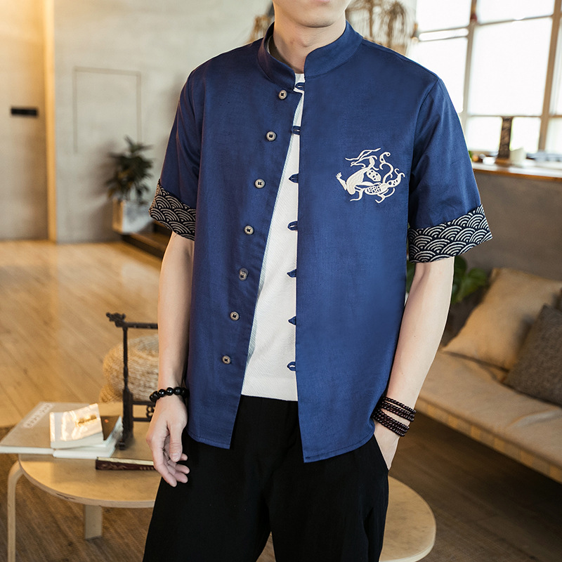 2018 Linen Shirt Men Summer Shirts Flax Breathable Chinese Style Fabric Linen Cotton Embroidery Dragon shirt Plus size M-5XL
