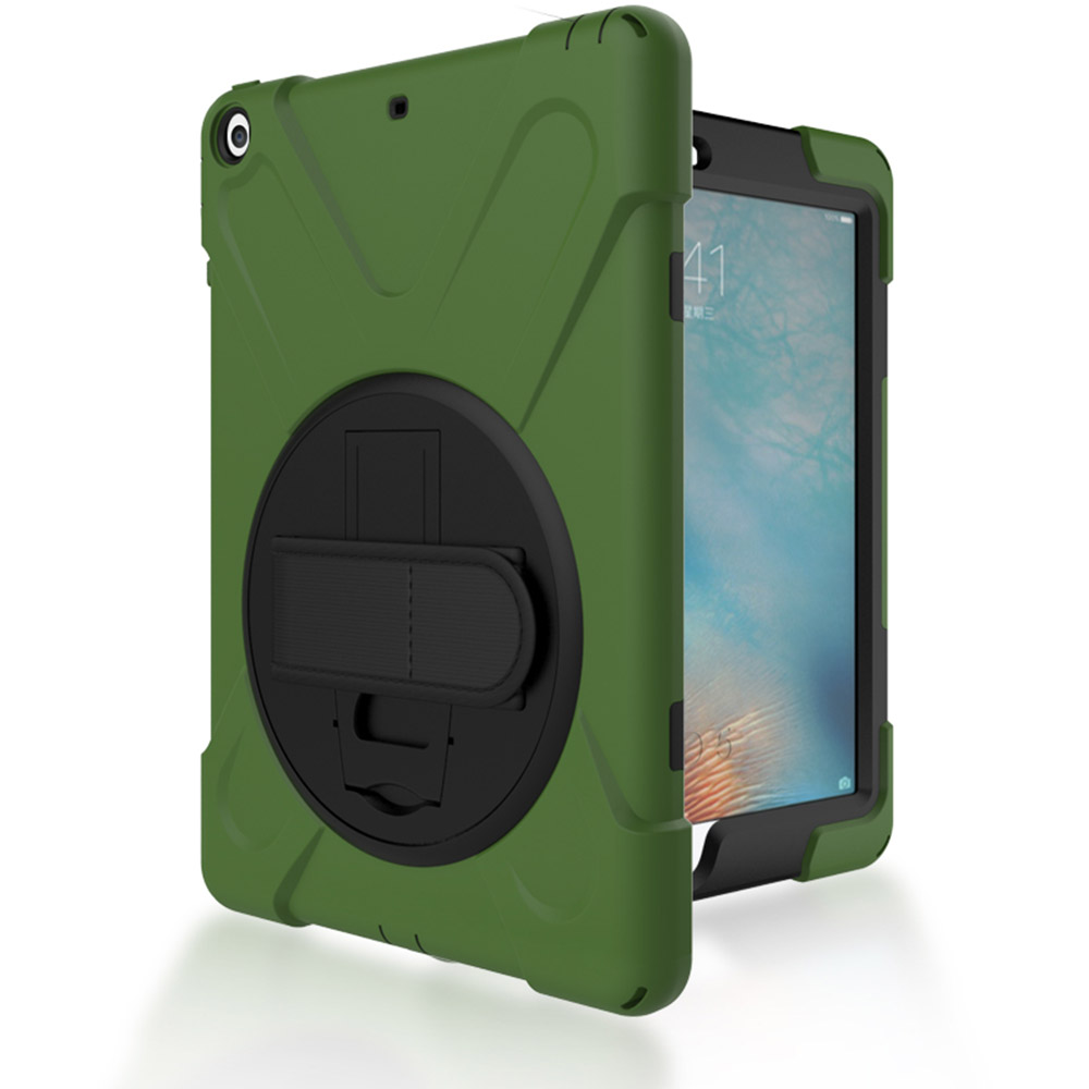 Hybrid Full Body 3 Layer Armor Protective ShockProof For iPad 5 Case Cover with Hand Strap and Rotating KickStand for iPAD AIR for new ipad 9 7 inch 2017 kickstand case heavy duty shockproof rugged armor three layer hard pc silicone full body protective