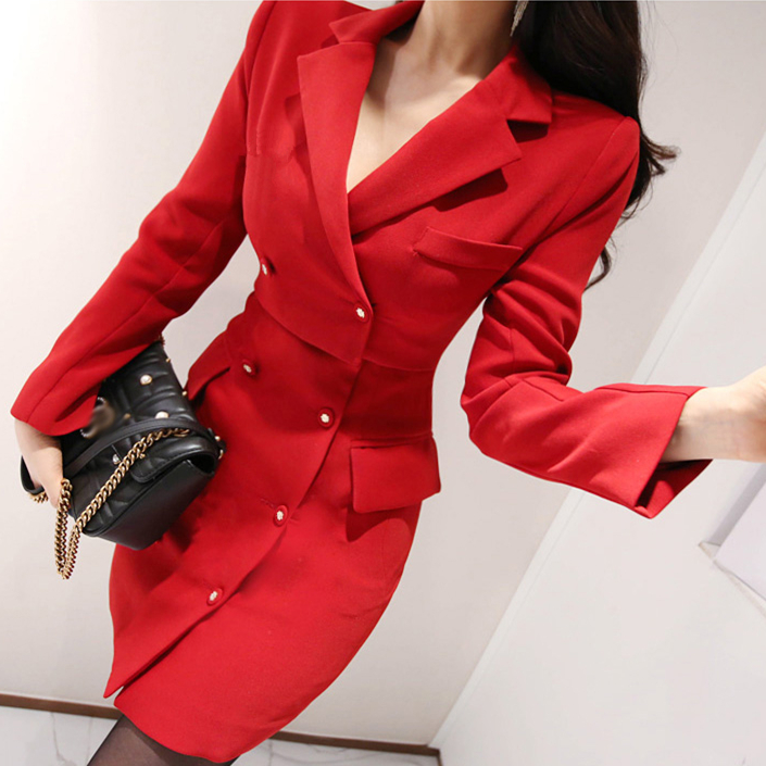 7ad3c3ab3a87 Red Office Blazer Dress With Brooch Bodycon Formal Party Lady Work Double- breasted Long Sleeve Elegant Fake Two Piece Dresses