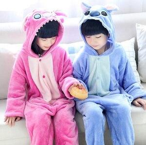 Image 2 - HKSNG zwierząt dorosłych Stitch piżamy wysokiej jakości flanelowe Cartoon śliczne Onesies Cosplay kostiumy kombinezony piżamy Kigurumi