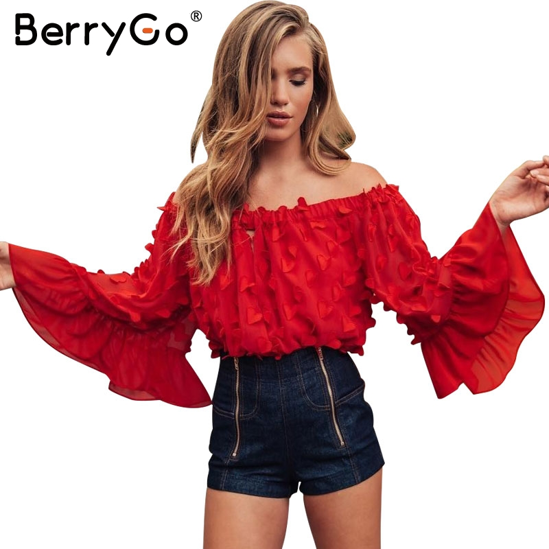 BerryGo Off shoulder flare sleeve summer blouse shirt Women sexy hollow out  chiffon blouse Elastic casual 7dcfdf4ce37f