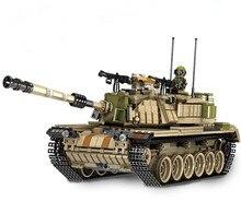 цена Large-scale Military M60 Main Battle Tank Building Blocks Model Army Soldier Weapons Figures Bricks Toys онлайн в 2017 году