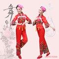 2016 Disfraces Trajes Tradicionales Chinos Bordados de Flores Grupo Danceclassical Ropa Traje de la Danza Yangko Fan Tambor de La Cintura
