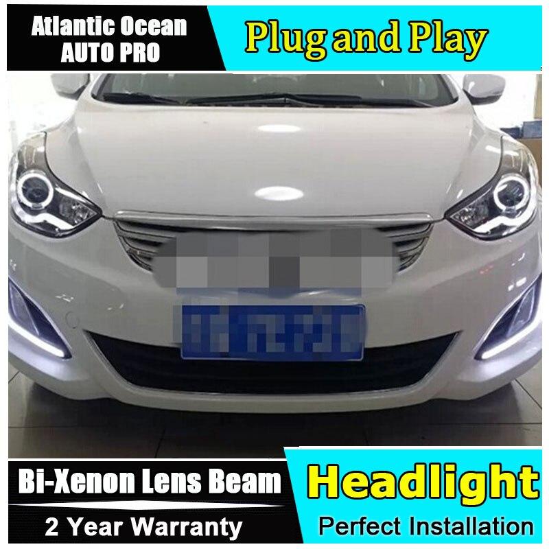 Pour Hyundai elantra phares 2012-2015 lumière LED guide DRL + bi-xénon Double lentille + angel eyes pour Hyundai elantra voiture style