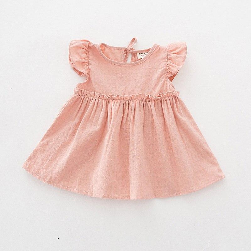 2019 Summer Baby Girl Dress Cute Solid Toddler Girls Clothing Cotton Children Clothes 1 Year Girl Baby Birthday Dress Vestidos
