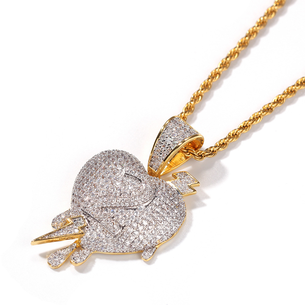 colorful gem Iced Out Heart Necklace amp Pendant Rope Chain Gold Silver Color Cubic Zircon Copper Men 39 s Women Hip hop Jewelry gift in Chain Necklaces from Jewelry amp Accessories