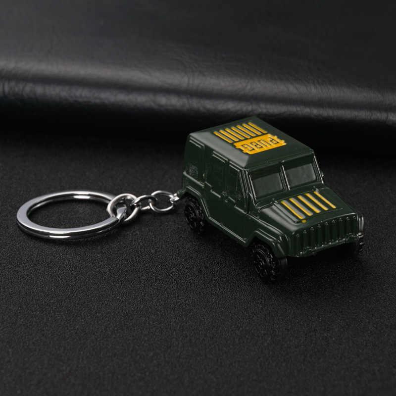 2019 Jogo Chapeamento Pingente de Metal Keychain Chave Do Carro Estilo PUBG Picapes Jaguar Chaveiro Para Jeep Toyota Camry Trumpchi Pontiac