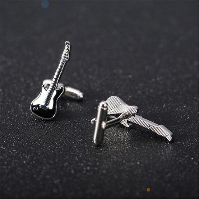 1 Pair High-end Cufflinks Imitation Guitar Cuff Links French Nail Sleeve Button Wedding