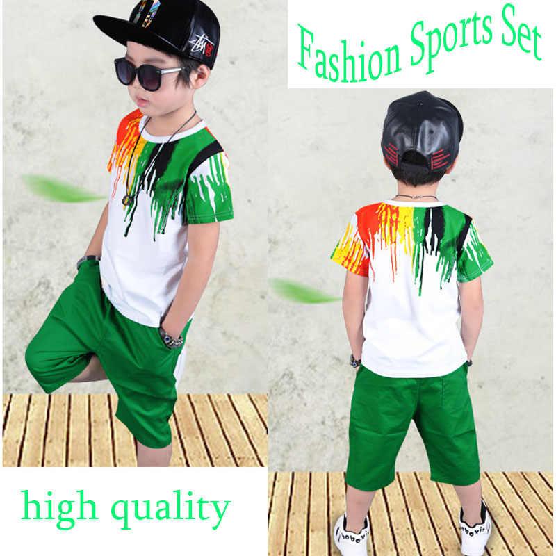 8afcb97e3 ... baby boy clothes summer season Kids Short Sleeve T-shirt+Cropped Pants  Rainbow Print ...