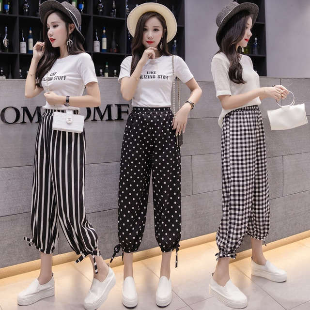 Summer Wide Legged Pants, Buds Tall Waist Department Chiffon Wave Wide Legged Pants Getting Nine Points Easy Leisure Long Pants
