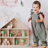 เด็กหญิง Candy สี Ruffles ฤดูร้อนโดยรวมกางเกง Western แฟชั่นทารก Fly แขนกางเกงยาวกางเกง