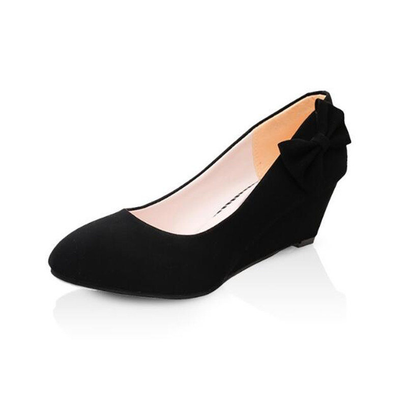 2017 Spring And Summer Women pumps Black color Bow shoes wedge New Round Head Suede Shoes