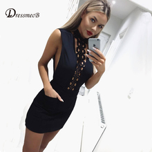 DRESSMECB Summer Bandage Hollow Out Solid Mini Dress Women Bodycon Vestidos Sexy Office Sundress Turtleneck Short Party Dresses (China)