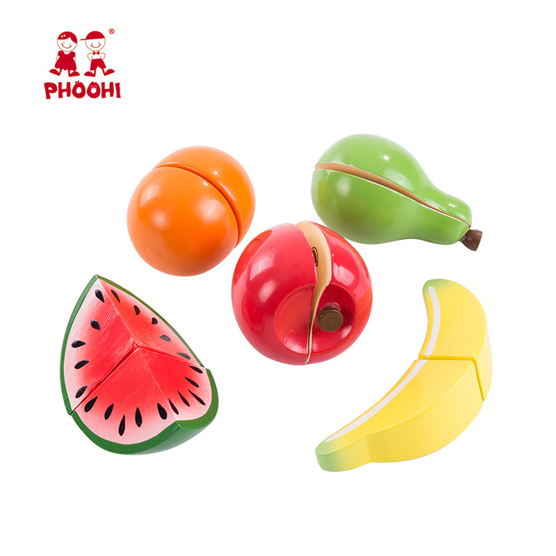 Baby Wooden Cutting Fruit Toy Children Pretend Kitchen Food Play Game Toy For Kids PHOOHI in Kitchen Toys from Toys Hobbies
