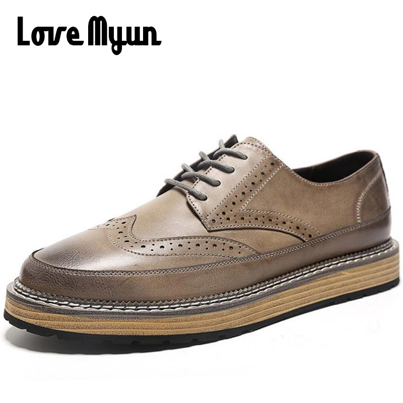 2018 new fashion men sneakers Brogue Carved Shoes retro casual Breathable Student boys Soft leather flat shoes  WA-81 bimuduiyu new england style men s carrefour flat casual shoes minimalist breathable soft leisure men lazy drivng walking loafer