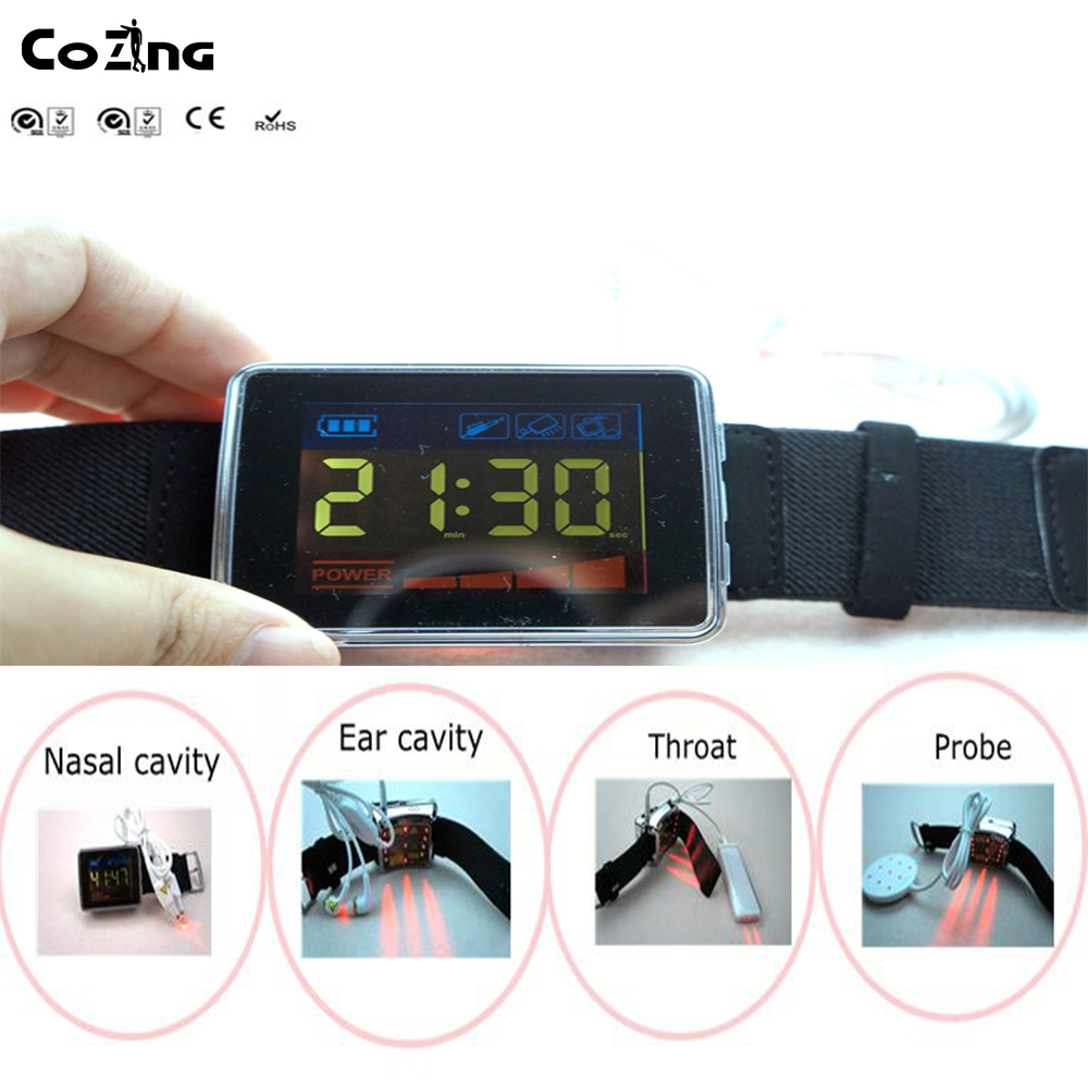 Laser therapy watch 650nm for old men blood pressure and cholesterol home use light therapy newest dropshiping and wholesale black color laser light therapy to reduce high blood pressure wrist watch type