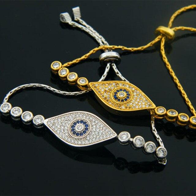 Новый высокое качество желтый \ белый годл plated микроскоп кубического циркония Турция Сглаза браслет женщины шарм ювелирных изделий