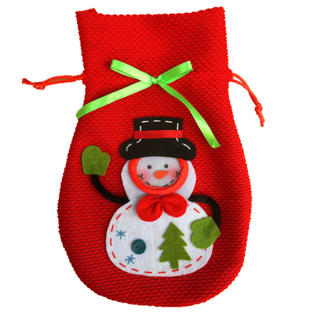 2 Pcs / Lot 2016 Red Cartoon Xmas Gift Bag for Kids Snowman Pattern Candy Package Wine Bottle Cover Bags Christmas Decorations